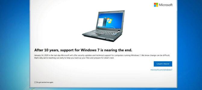 Se acerca el fin de soporte para Windows 7